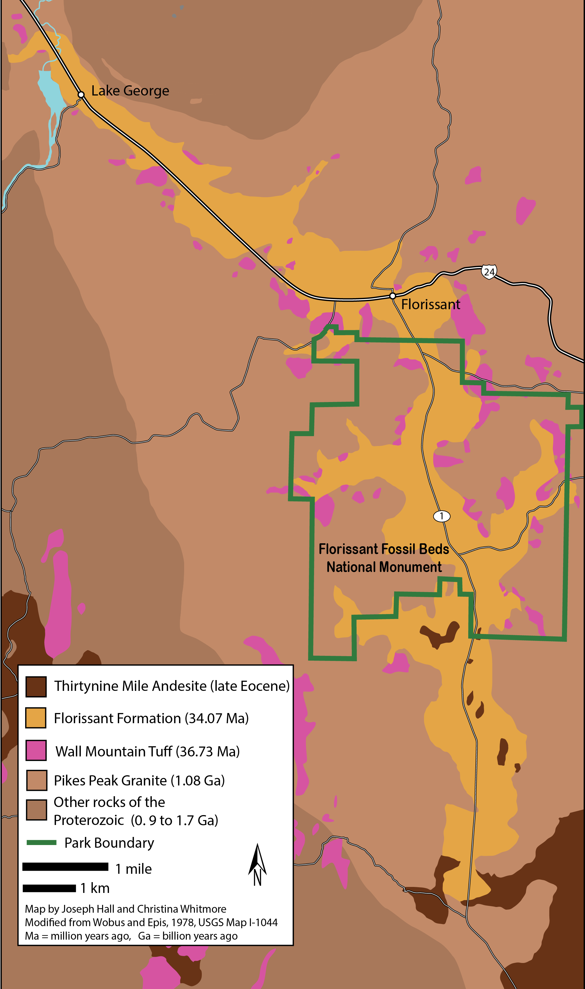 Geographical Map of Florissant Fossil Beds National Park